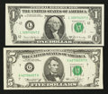 Error Notes:Obstruction Errors, Fr. 1906-L $1 1969C Federal Reserve Note. Extremely Fine-AboutUncirculated; Fr. 1973-G $5 1974 Federal Reserve Note. Very Fin...(Total: 2 notes)
