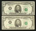 Error Notes:Ink Smears, Fr. 1974-G $5 1977 Federal Reserve Note. Very Fine;. Fr. 1978-A $51985 Federal Reserve Note. Fine-Very Fine.. ... (Total: 2 notes)