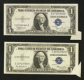 Error Notes:Foldovers, Fr. 1612 $1 1935C Silver Certificate. Choice Crisp Uncirculated..Fr. 1614 $1 1935E Silver Certificate. Choice Crisp Uncircula...(Total: 2 notes)