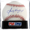 Baseball Collectibles:Balls, Sandy Koufax Single Signed Baseball, PSA Mint+ 9.5....