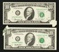 Error Notes:Foldovers, Fr. 2022-A $10 1974 Federal Reserve Note. Extremely Fine-AboutUncirculated; Fr. 2030-A $10 1993 Federal Reserve Note. Very Fi...(Total: 2 notes)