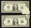 Error Notes:Attached Tabs, Fr. 1909-E $1 1977 Federal Reserve Note. Very Fine;. Fr. 1910-F $1 1977A Federal Reserve Note. Very Fine.. ... (Total: 2 notes)