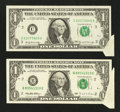 Error Notes:Attached Tabs, Fr. 1903-C $1 1969 Federal Reserve Note. Very Fine.. Fr. 1921-B $11995 Federal Reserve Note. Very Fine.. ... (Total: 2 notes)