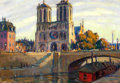 Paintings, L. GOFF (American, 20th Century). Notre Dame de Paris. Oil on artist's board. 14 x 20 inches (35.6 x 50.8 cm). Signed an...
