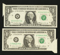 Error Notes:Attached Tabs, Fr. 1903-K $1 1969 Federal Reserve Note. Extremely Fine;. Fr.1913-G $1 1985 Federal Reserve Note. Extremely Fine.. ... (Total: 2notes)