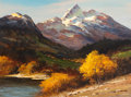 Paintings, ROBERT WILLIAM WOOD (American, 1889-1979). The Grand Teton. Oil on canvas . 18 x 24 inches (45.7 x 61.0 cm). Signed lowe...