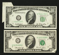 Error Notes:Attached Tabs, Fr. 2011-G $10 1950A Federal Reserve Note. Extremely Fine;. Fr.2022-G $10 1974 Federal Reserve Note. Very Fine-Extremely Fine...(Total: 2 notes)