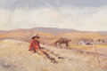 Paintings, FROM A PRIVATE ARKANSAS COLLECTION. ACE POWELL (American, 1912-1978). Blackfoot Indian Resting on a Hillside. Oil on c...