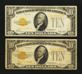 Small Size:Gold Certificates, Fr. 2400 $10 1928 Gold Certificates. Two Examples. . ... (Total: 2 notes)
