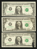 Error Notes:Ink Smears, A Trio of $1 Federal Reserve Notes with Ink Smears. Choice AboutUncirculated or Better.. ... (Total: 3 notes)