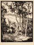 Texas:Early Texas Art - Regionalists, HARRY ANTHONY DeYOUNG (American, 1893-1956). Spanish Oak,1937. Woodblock print. Image: 10 x 8 inches (25.4 x 20.3 cm). ...