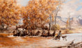 Western:Cowboy Artists, FROM THE COLLECTION OF SUSAN & ALLEN COLES. TOM BEECHAM (American, 1926-2000). Ute Country Crossing, 1952. Oil on canv...