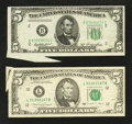 Error Notes:Foldovers, Fr. 1962-B $5 1950A Federal Reserve Note. Extremely Fine.. Fr.1980-L $5 1988A Federal Reserve Note. Very Fine.. ... (Total: 2notes)