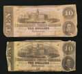 Confederate Notes:1862 Issues, T52 $10 1862 Two Examples.. ... (Total: 2 notes)
