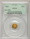 California Fractional Gold: , 1881 50C Indian Octagonal 50 Cents, BG-956, High R.4, MS64 PCGS.PCGS Population (30/6). NGC Census: (1/2). (#10814)...