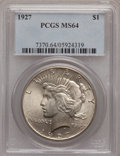 Peace Dollars: , 1927 $1 MS64 PCGS. PCGS Population (1538/267). NGC Census:(851/107). Mintage: 848,000. Numismedia Wsl. Price for problem f...