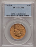 Indian Eagles: , 1913-S $10 XF45 PCGS. PCGS Population (50/437). NGC Census:(69/636). Mintage: 66,000. Numismedia Wsl. Price for problem fr...
