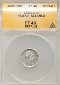 Coins of Hawaii: , 1883 10C Hawaii Ten Cents--Cleaned--ANACS. XF40 Details. NGCCensus: (22/227). PCGS Population (50/347). Mintage: 250,000. ...