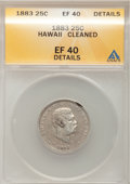 Coins of Hawaii: , 1883 25C Hawaii Quarter--Cleaned--ANACS. XF40 Details. NGC Census:(6/880). PCGS Population (35/1421). Mintage: 500,000. (...