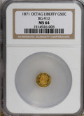 California Fractional Gold: , 1871 50C Liberty Octagonal 50 Cents, BG-912, R.3, MS64 NGC. NGCCensus: (3/3). PCGS Population (28/5). (#10770)...