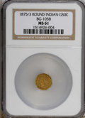 California Fractional Gold: , 1875/3 50C Indian Round 50 Cents, BG-1058, R.3, MS61 NGC. NGCCensus: (3/7). PCGS Population (8/98). (#10887)...
