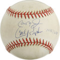 Autographs:Baseballs, Cal Ripken, Sr. and Cal Ripken, Jr. Dual-Signed Baseball. The famedfather-son duo of Cal Ripken and Cal, Jr. is featured h...