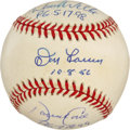 Autographs:Baseballs, Perfect Game Pitchers Baseball Signed by Larsen, Wells, and Cone.Three men who have achieved the ridiculous feat of pitchi...