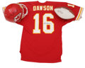 Football Collectibles:Balls, Len Dawson Signed Helmet, Jersey, Football, and Oversized Photograph with Super Bowl IV Program. Hall of Fame quarterback L...