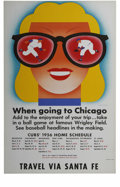 Baseball Collectibles:Others, 1956 Chicago Cubs Schedule from Train Depot. Beautifully preservedsign from a train depot boasts classic art from the 1950...