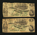 Confederate Notes:1862 Issues, T45 $1 1862 Two Examples.. ... (Total: 2 notes)