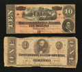 Confederate Notes:1862 Issues, $1 and $10 Notes.. ... (Total: 2 notes)