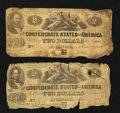 Confederate Notes:1862 Issues, T42 $2 1862 Two Examples.. ... (Total: 2 notes)