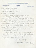 Baseball Collectibles:Others, George Sisler Handwritten, Signed Letter....