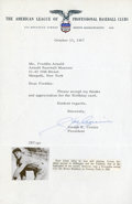 Baseball Collectibles:Others, 1967 Joe Cronin Signed Letter....