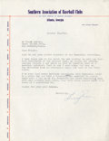 Baseball Collectibles:Others, 1943 Billy Evans Signed Typed Letter....