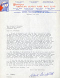 Baseball Collectibles:Others, 1952 Clarke Griffith Signed Letter....