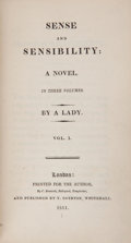 Books:First Editions, [Jane Austen]. Sense and Sensibility: A Novel. In ThreeVolumes. By a Lady. Vol. I. [II. III.]. London: Printed ... (Total:3 Items)