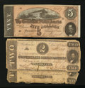 Confederate Notes:1862 Issues, T54 $2 1862 Two Examples. T69 $5 1864.. ... (Total: 3 notes)