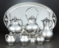 Silver Holloware, Mexican:Holloware, A MEXICAN SIX-PIECE SILVER COFFEE AND TEA SERVICE WITH TRAY . Tango Aceves, Taxco, Mexico, circa 1950. Marks: Aceves, STE... (Total: 9 Items)