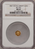 California Fractional Gold: , 1867 25C Liberty Octagonal 25 Cents, BG-742, Low R.7, MS63 NGC. NGCCensus: (1/0). (#10569)...