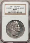 German States:Bavaria, German States: Bavaria. Ludwig I 2 Taler 1842 Marriage,...