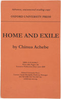 Books:Signed Editions, Chinua Achebe. Home and Exile. Oxford/New York: Oxford University Press, 2000. Advance, uncorrected reading copy. Fi...