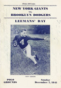 Football Collectibles:Programs, 1941 Tuffy Leemans Signed Program, Date of Pearl Harbor Attack....