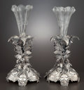 Silver Holloware, British:Holloware, A PAIR OF VICTORIAN SILVER PLATE VASES WITH GLASS INSERTS . Mappin& Webb, Ltd., Sheffield, England, circa 1880. Marks: MA...(Total: 4 Items)