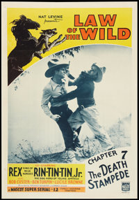 "Law of the Wild (Mascot, 1934). One Sheet (27"" X 41"") Chapter 7-- ""The Death Stampede."" Serial"