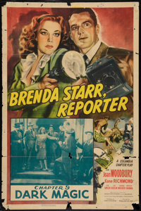 "Brenda Starr, Reporter (Columbia, 1945). Autographed One Sheet (27"" X 41"") Chapter 9 -- ""Dark Magic.""..."