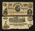 Confederate Notes:1862 Issues, T39 $100 1862. T65 $100 1864.. ... (Total: 2 notes)