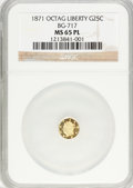 California Fractional Gold: , 1871 25C Liberty Octagonal 25 Cents, BG-717, R.3, MS65 ProoflikeNGC. NGC Census: (7/9). (#710544)...