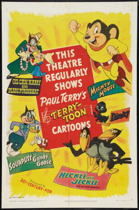 """Terry-Toons Stock Poster (20th Century Fox, 1950). One Sheet (27"""" X 41""""). Animated"""