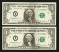 Error Notes:Miscellaneous Errors, Fr. 1910-I $1 1977A Federal Reserve Notes. Two ConsecutiveExamples. Choice Crisp Uncirculated.. ... (Total: 2 notes)